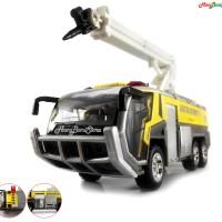 Mainan DieCast Metal Mobil Truck Rescue dan pemadam di Airport -Yellow