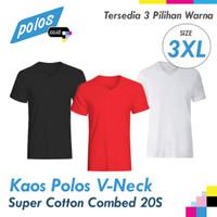 Jual Kaos Polos V-Neck Super Cotton Combed 20s Ukuran XXXL (3XL Jumbo) Murah