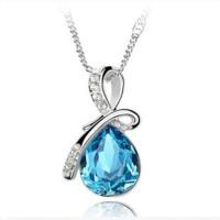 Queen Angel Teardrop Crystal Pendants Necklace 925 Sterling Silver / K