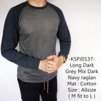 Kaos Lengan Panjang Model Long Dark Grey Mix Dark Navy Raglan - 137