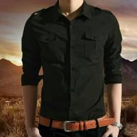 Baju Kemeja Pria / Hem Cowok / Pakaian Pocket Cool Man Black