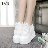 Boots High Heeled Boots Short Plush Winter Lacet Students boot Import