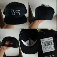 Topi RVCA Get Up Get Down Black White Snapback Original