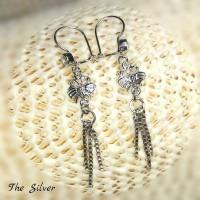 Anting Perak AT04 /Silver 925 Lapis Emas Putih Harga Termurah/Murah