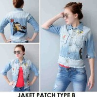 Jual Jaket Jeans Wanita Patch Type B Jacket Bordir Light Blue Murah Murah