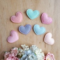Aplikasi Pastel Glitter Heart Rp10.800,-/set (isi 7 warna sesuai foto)