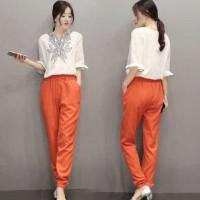 [St indy batik FT] setelan wanita spandek orange
