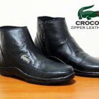 Sepatu Boot Crocodile Zipper Black, Kulits asli