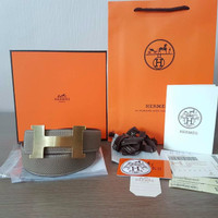 EXCLUSIVE JUAL BELT HERMES GREY BUCKLE H GOLD CONSTANCE MIRROR QUALITY