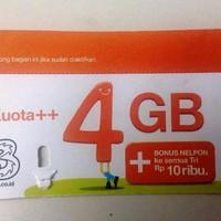Z HARGA TERMURAH Voucher KUOTA DATA Tri 4GB Reguler 24 Jam ISI INTERNE