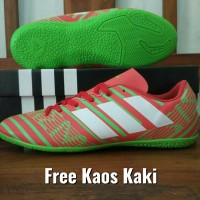 Free Kaos Kaki - Sepatu Futsal Adidas Nemeziz Merah Hijau