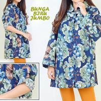 Flower Biru Kemeja Jumbo Baju Atasan Wanita Bigsize gh1242