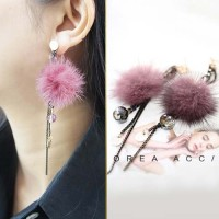 Jual Anting Korea Aksesoris Fashion Wanita Perhiasan Import Fur Bulu PomPom Murah