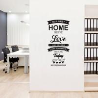 Jual Wall Sticker Our FIrst Home Rumah 60x120 Stiker Dinding Kaca Murah