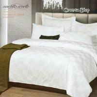 Bed Cover Set Hotel Polos Putih Kotak - King Size 180x200x30cm