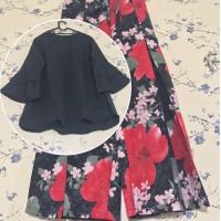 Setelan Kulot Asifa Orchard Red Blouse Black