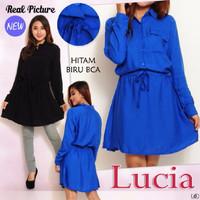 SALE [ Dress Lucia SW] Pakaian wanita Dress warna biru bca dan Hitam M