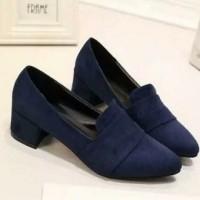 harga Sepatu Big Heels Bahan Suede / Bludru Blue Navy Waode 0203 Tokopedia.com