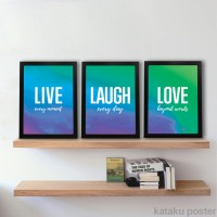 Set Home Decor 3 poster - Live Laugh Love - Pigura Hiasan Dinding