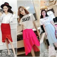 baju setelan atasan putih rok pink rok merah rok biru balerina selutut