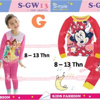 Piyama Setelan Baju Tidur Anak Perempuan 8-13thn Princess Minnie Gw