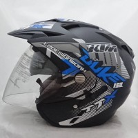 Helm 2 kaca double visor duke Black doff biru