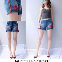gucci flo short celana pendek jeans wanita