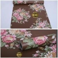 Walpaper Sticker Dinding Warna Coklat Bunga Mawar (Glory 020)
