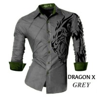 Baju Pria Kemeja Dragon- Grey, Baju cowok model kemeja zaman sekarang