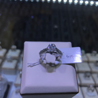 Cincin berlian eropa model bulat full diamond kombinasi emas putih