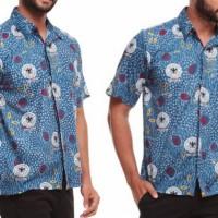 Kemeja Batik Pria Hem Batik Pria Lambang Bola Biru Katun 118