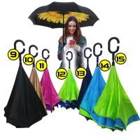 Jual Payung Kazbrella / Payung Terbalik Kazbrella / Polos Biru Murah