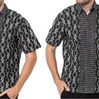 Kemeja Batik Pria Batik Songket Meander Hem Lengan Pendek Katun 191