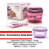 Tupperware Turbo Chopper Purple FREE Crystalwave Soup Bowl