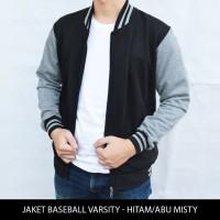 Jual [HARGA GROSIR] Jaket Baseball Varsity Polos Hitam - Abu Misty Murah