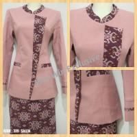 Setelan Blazer Kerja Kantor Wanita Kombinasi Batik Salem Pink
