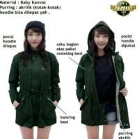 Jaket Blazer Mantel Wanita Parka Cewe Model Korea Canvas Winter Green