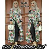 setelan baju muslim slit tunik blouse slit maxy maxi celana panjang xl
