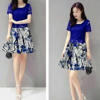 dress pendek brukat / mini dress blue brokat flower abstrak party