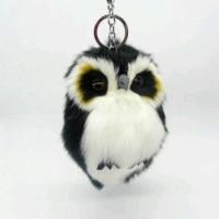 Jual Fur keychain pom pom gantungan kunci tas kopenhagen gantungan bulu owl Murah