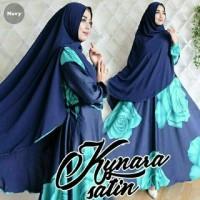 TA-00068 Kynara satin navy maxmara baju muslim gamis hijab syari pesta