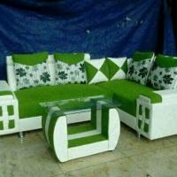 sofa minimalis L sudut putih hijau / kursi ruang tamu murah terbaru