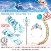 Jual Acc Frozen 4in1 Mahkota Tongkat Rambut Palsu Sarung Tangan Elsa Murah
