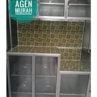 Rak Piring 3 pintu magic com keramik kaca - Lemari makan dapur