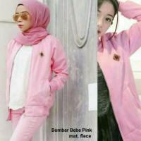 SSM - Bebe Bomber Pink Jacket Jaket Polos Hoodie Pria Wanita