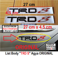 sticker strip body trd s original toyota agya dan lainnya- hitam (set)