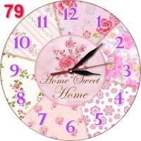 #79 Dekorasi Interior Jam Dinding Shabby Chic Bahan Mdf Bunga Pink