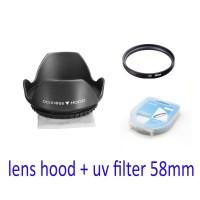 uv filter + lens hood 58mm for canon kit / 75-300mm nikon fix 50mm
