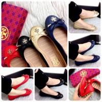 TORY BURCH Minnie Casual Leather Ballerina Flats | sepatu brande |
