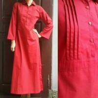 Gamis / Long Dress Muslimah Casual Modern Merah dan Kotak-Kotak